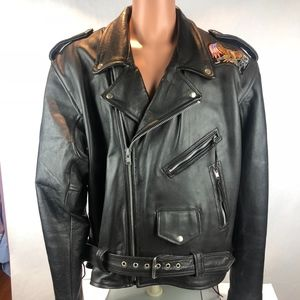 UNIK Black Leather Motorcycle Biker Jacket Sz 54